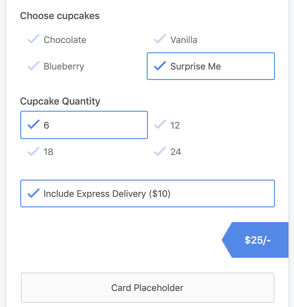 Stripe payment form with price calculation