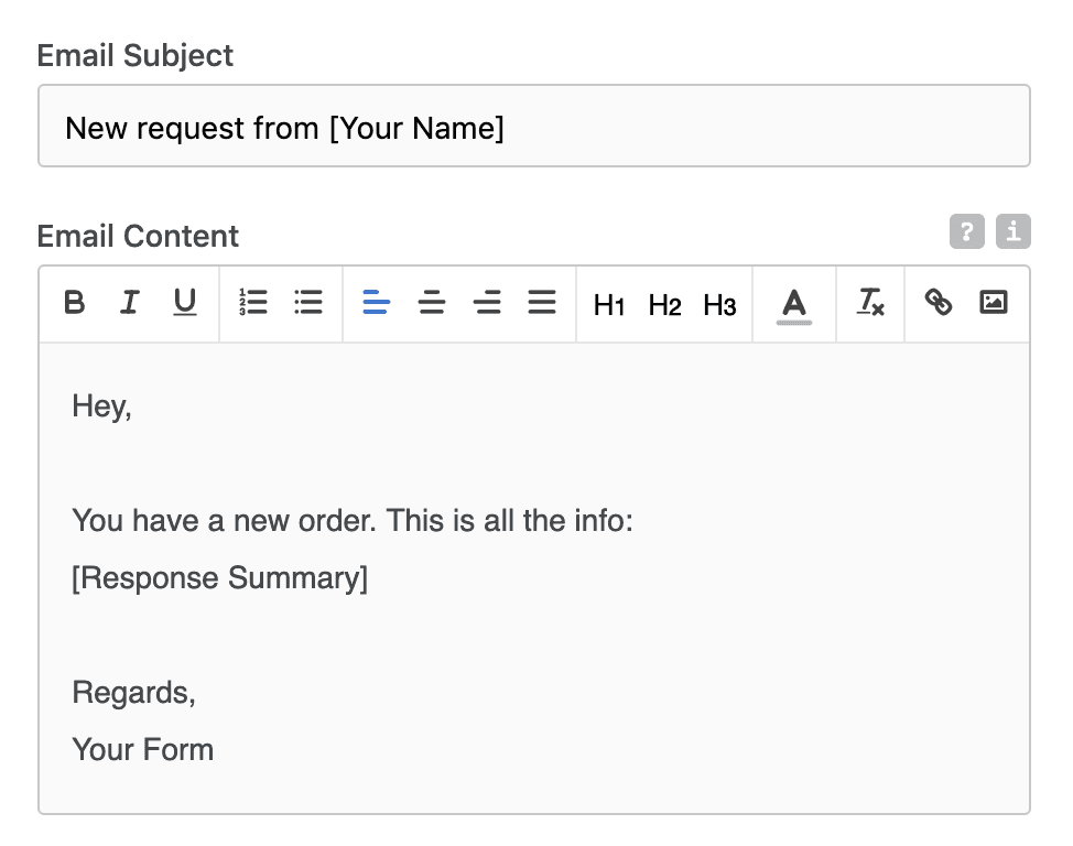 Using form content in emails