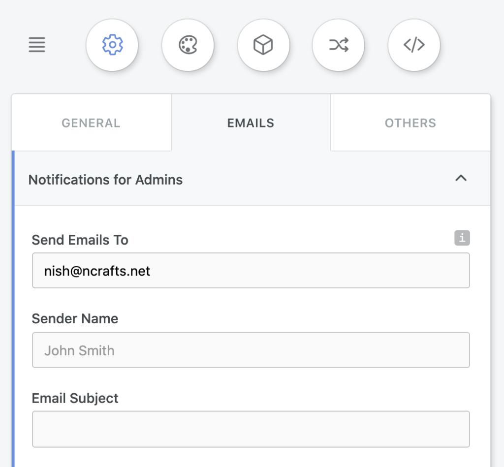 Email notifications to admins