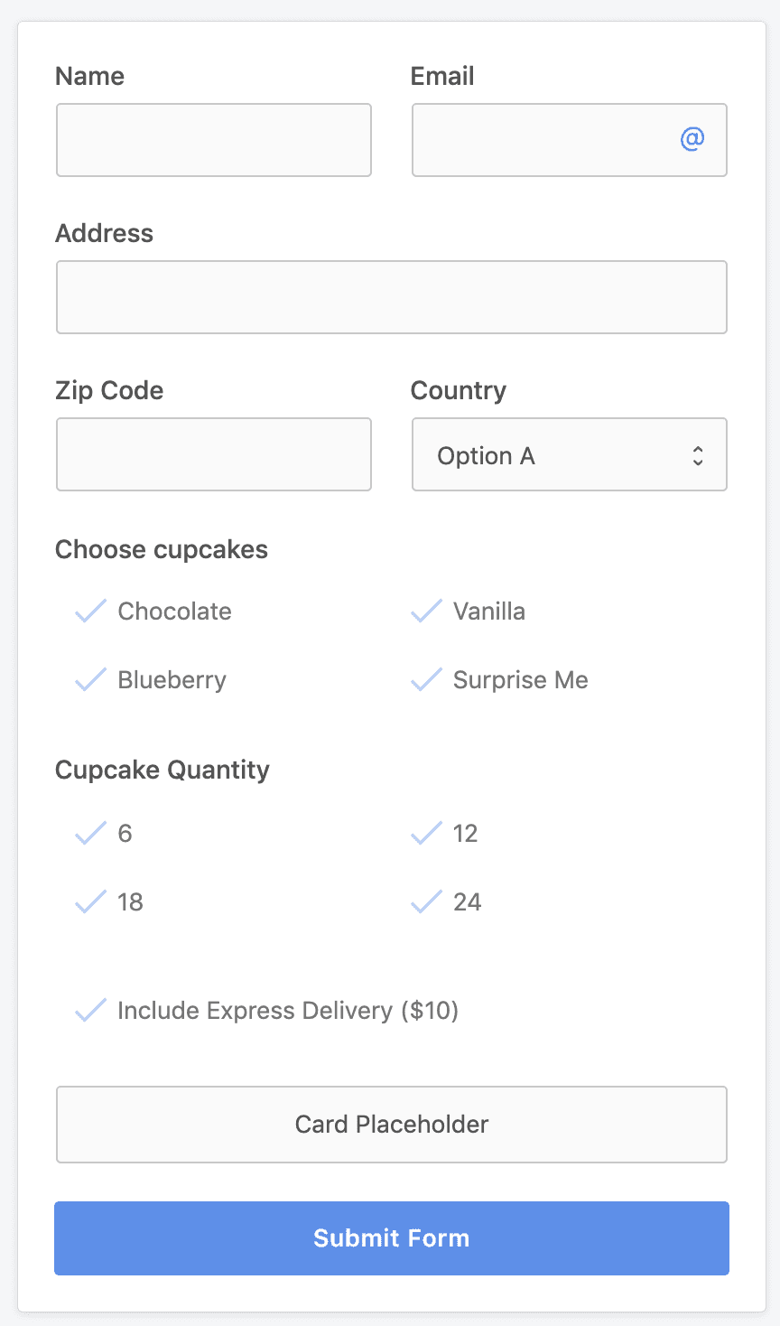 Stripe payment form to sell cupcakes