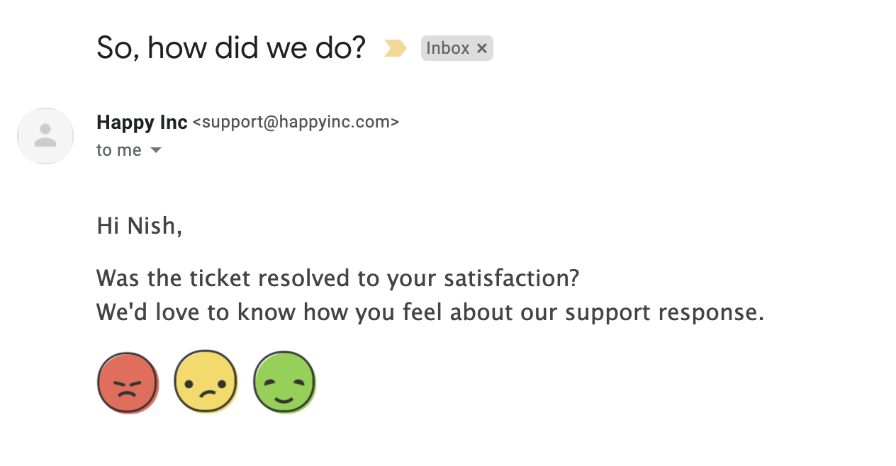 Survey links in email request