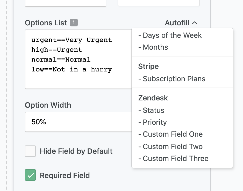 Zendesk ticket forms: choice field