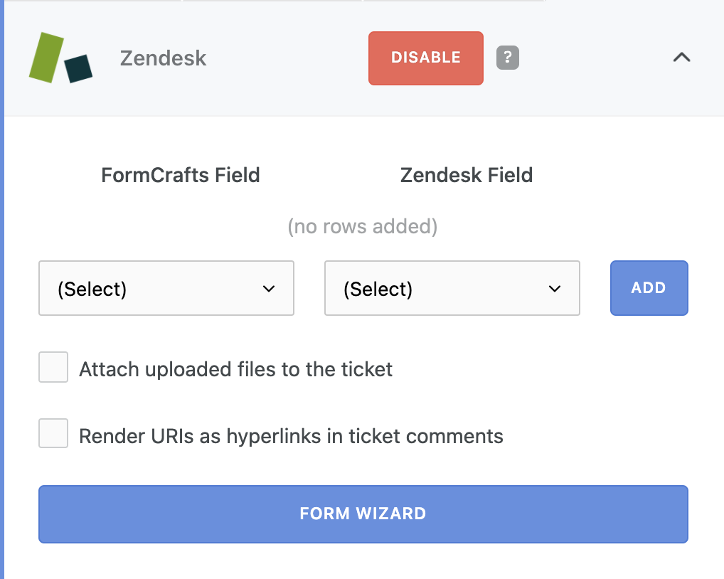 Using the Zendesk form creation wizard