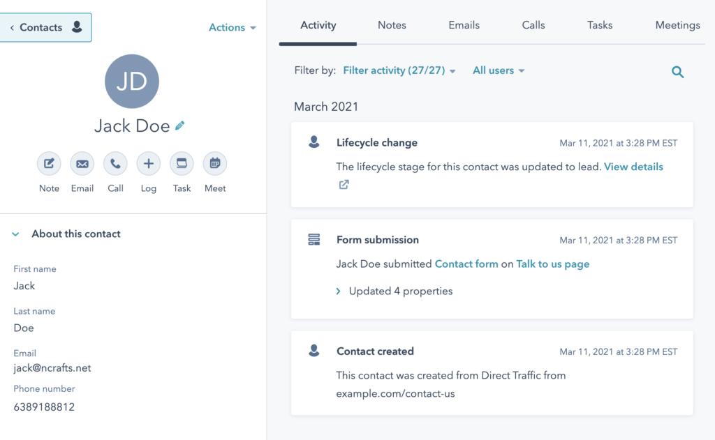 HubSpot contact creation via form