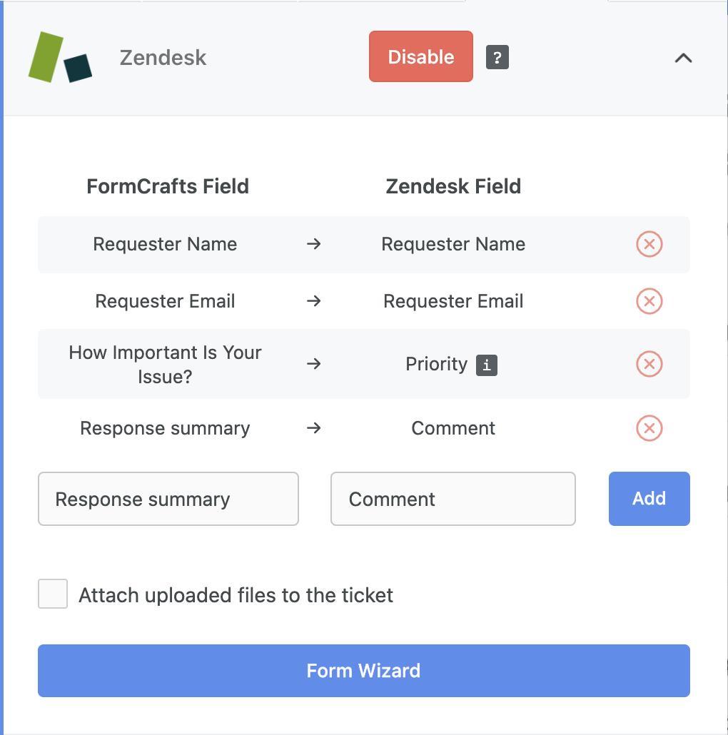 Zendesk ticket form fields mapping