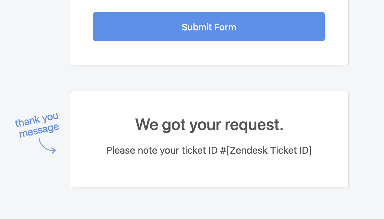 Zendesk ticket form thank you message