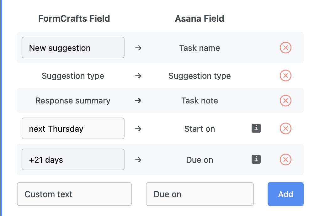Asana dynamic start and due date