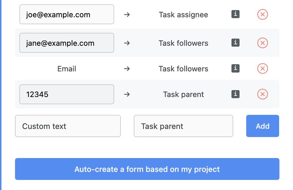 Asana form create sub-task