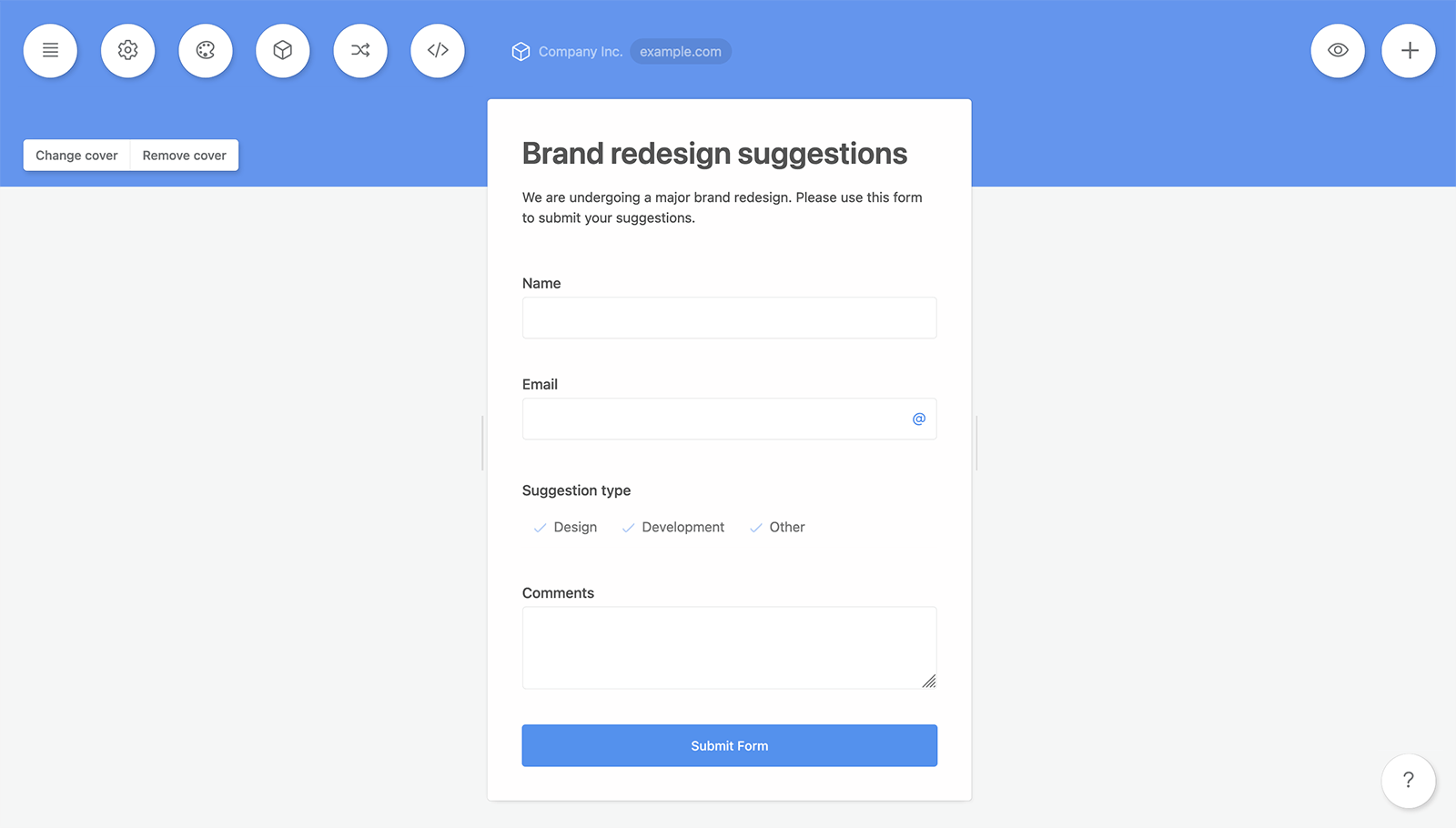 Asana brand redesign suggestion form