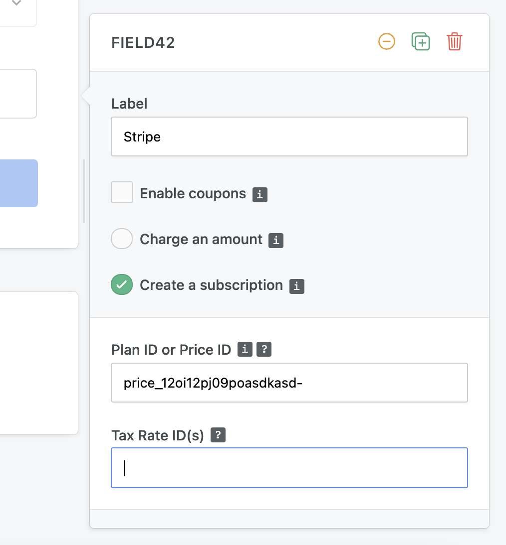 Stripe subscription form - fixed plan