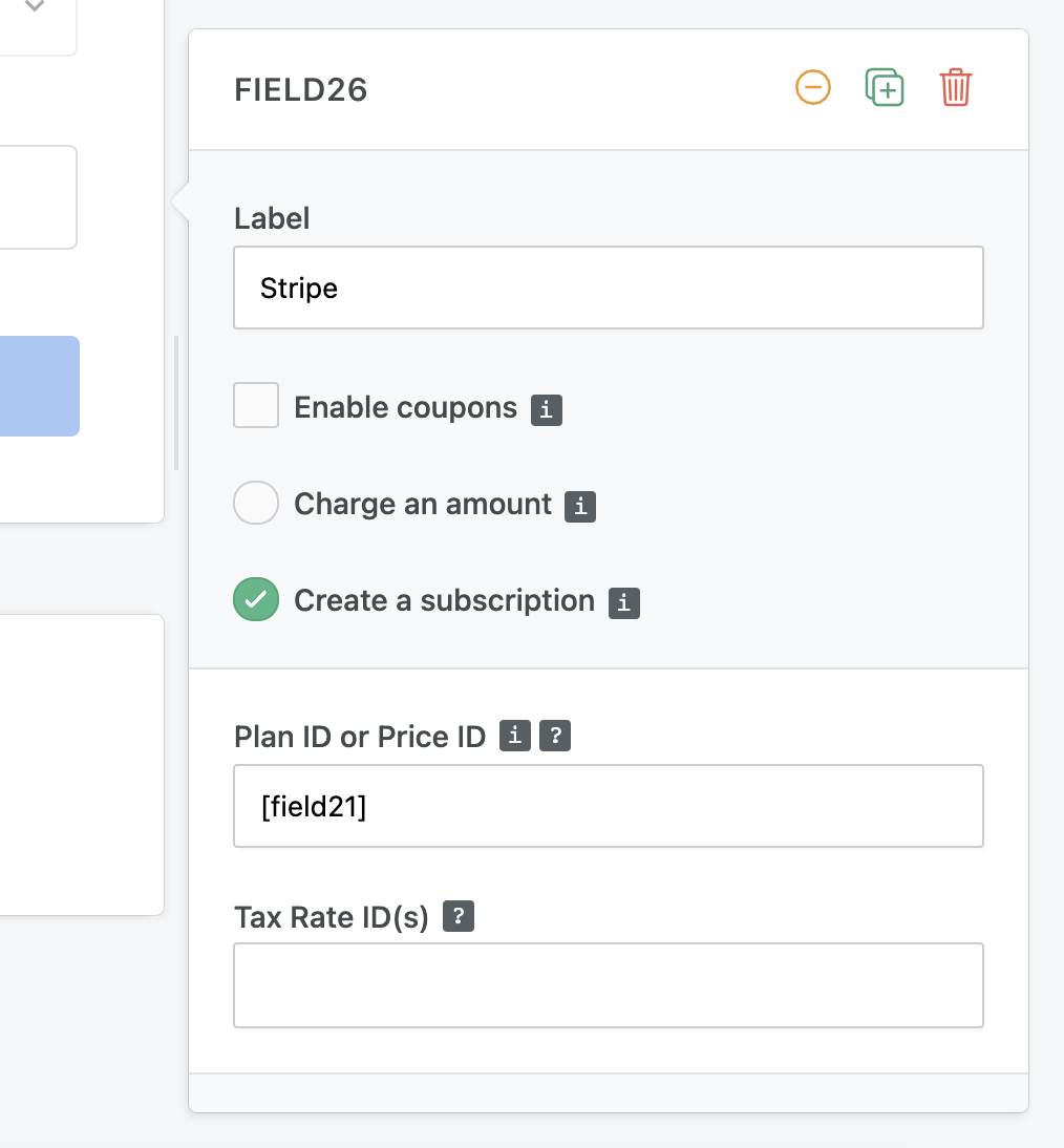 Stripe subscription form - variable plan selection