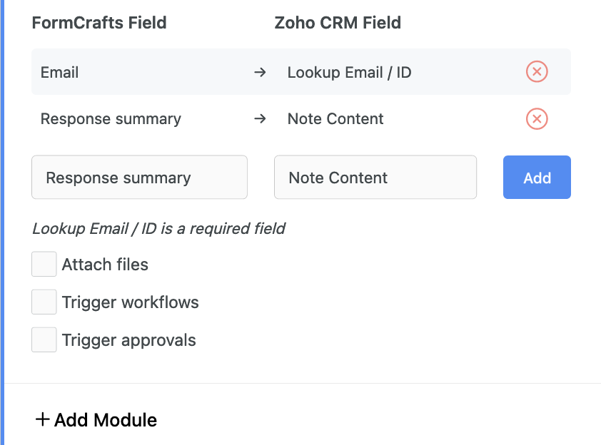 Creating a linked record (note) on a Zoho CRM lead