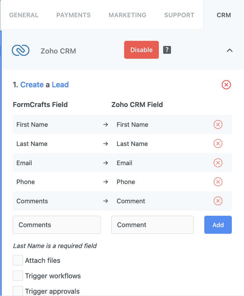 Mapping form fields to Zoho CRM