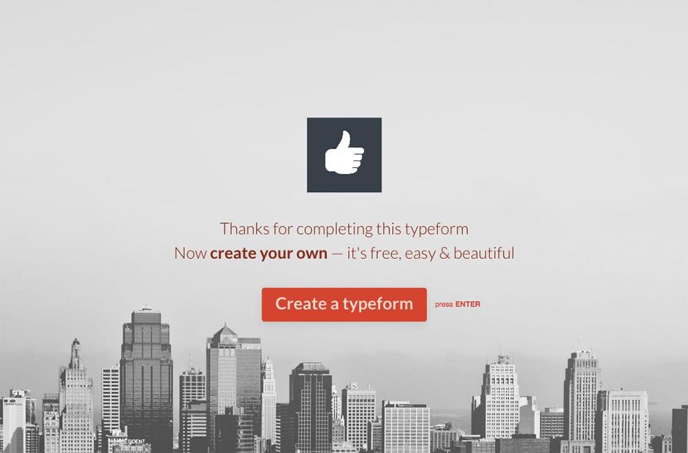 Typeform thank you screen
